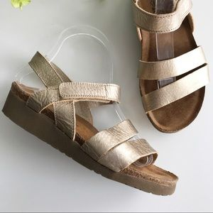 Naot Metallic Gold Leather Kayla Sandal | 37/6